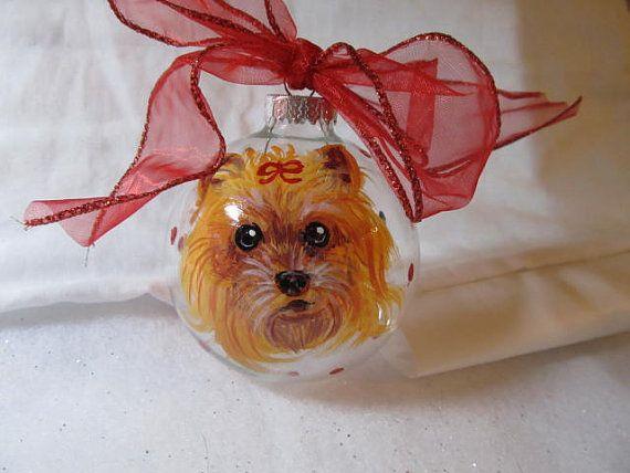 Memorial Painted Ornament Animal Cartoon  Pet Portrait   Custom Personalized Cat Dog