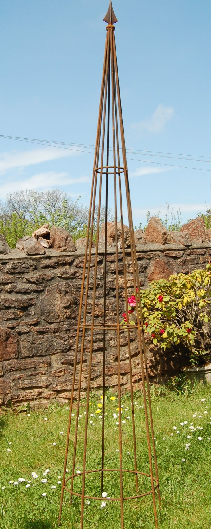 Classical Pointed Garden Obelisk,Handmade Wrought Iron