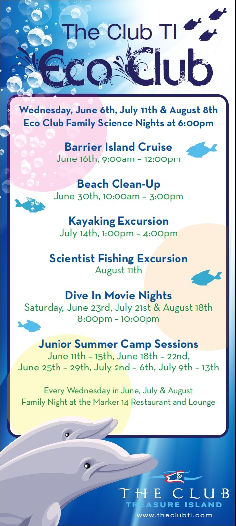 We have some fantastic Kid's programs coming up this Summer!  Check out our Eco Club Excursions, Family Science Nights, Dive In Movie Nights, and so much more!  Looking forward to seeing you here at The Club for some treasured togetherness time spent with your family!  Click the photo for a link to learn more about Eco Club on our website!