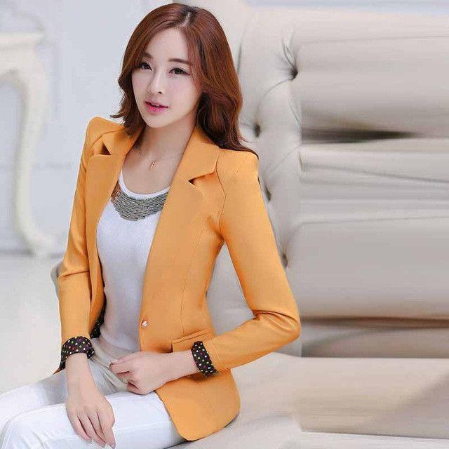 Women Blazers Candy Color Long Sleeve Female Blazer Suit Suit Jackets Coat
