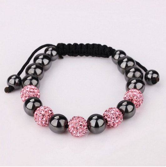 Shamballa friendship bracelet ,Genuine Hematite stone beads, crystal bead bracelet,disco ball shamballa bracelet