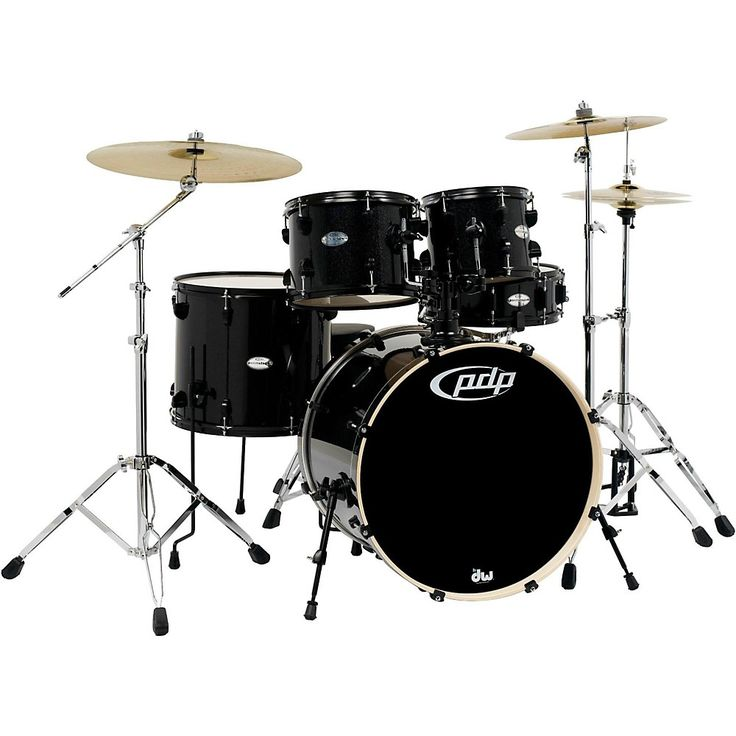 PDP Mainstage 5-Piece Drum Set w/Hardware and Paiste Cymbals Black Metallic