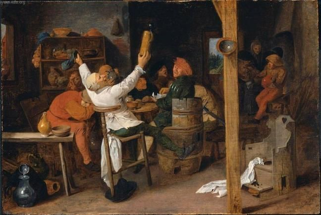 Peasants Carousing in a Tavern by Adriaen Brouwer