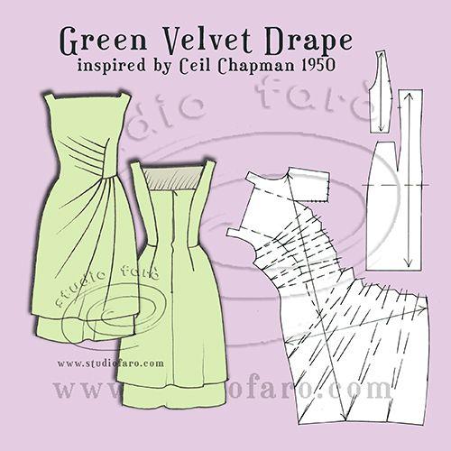 Green Velvet Drape - vintage inspired pattern making instructions.  #PatternPuzzle