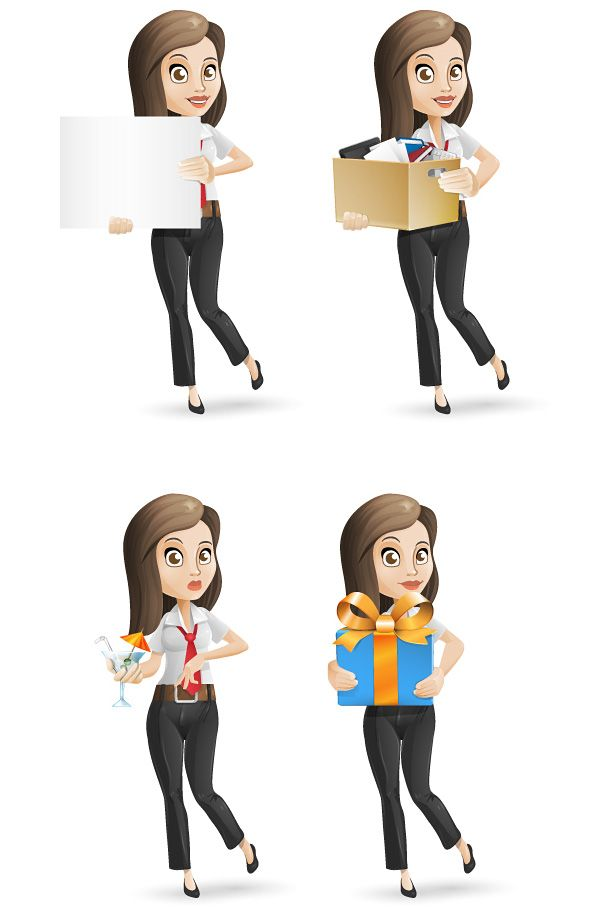 Businesswoman vector character set containing 4 different poses. Download the whole set in Ai and PDF absolutely for free! Continue reading →