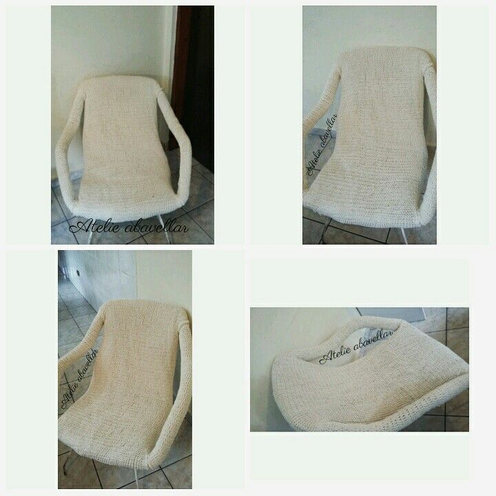 Cadeiras com forração em trico no  barbante. Trabalho exclusivo do Atelie  www.abavellar.blogspot.com