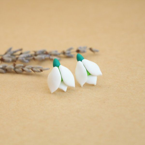 Snowdrops - Polymer clay earrings