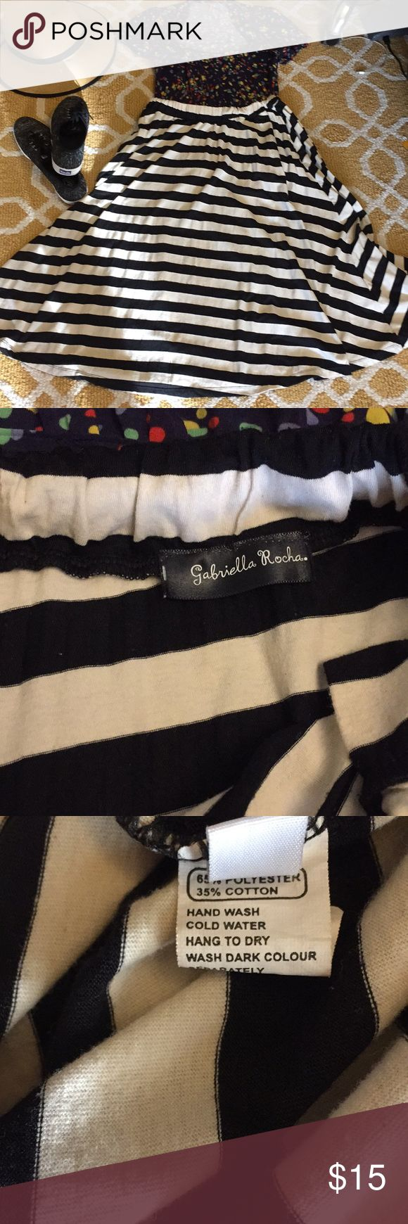 """Black cream striped midi a-line skirt POCKETS! GUC skirt from Gabriella Rocha, T-short material skirt with elastic waist and pockets. Unstretched waist measures 14"""", length total is 29"""". Very versatile, very Anthropologie-meets-Urban Outfitters. ❤️ gabriella rocha Skirts A-Line or Full"""