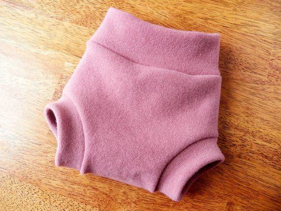 Organic Merino Wool Diaper Cover - Dark Pink Wool Soaker Shorties - Wool Interlock Diaper Cover - Made to Order - NB Small Medium Large