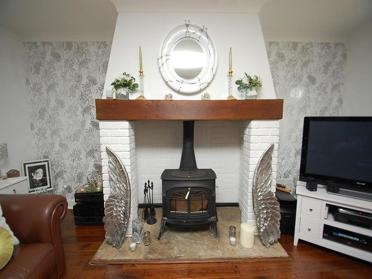 Wallpaper In The Alcoves Wood Burning Fireplaces
