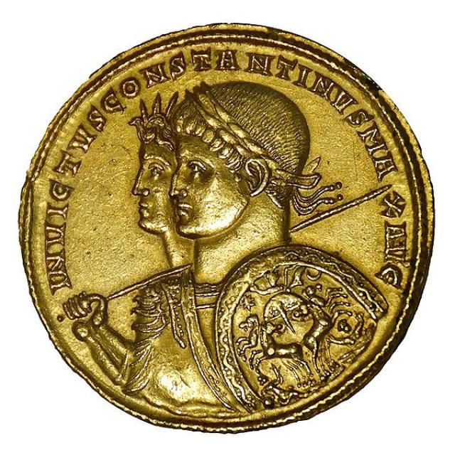 Who Was Constantine the Great?: Gold multiple medallion minted in Ticinum, 313 AD. Wt. 39.79 g. Busts of Constantine with Sol Invictus. Cabinet des M