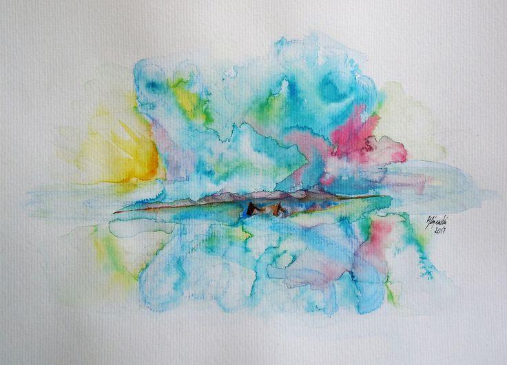 Aquarell Landschaft Meer Boote  Paper Künstler direkt blau braun rosa gelb weiss