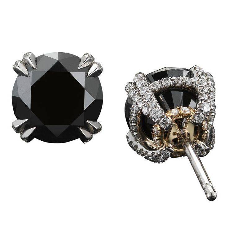 Black Diamond Studs and Diamond Melee | From a unique collection of vintage stud earrings at http://www.1stdibs.com/jewelry/earrings/stud-earrings/