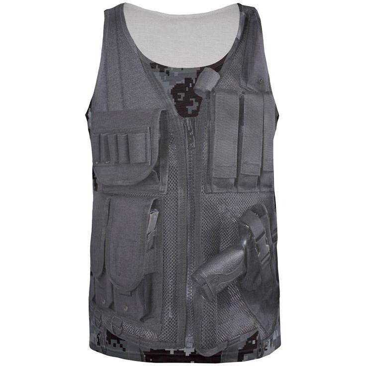 Black Police Tactical Vest All Over Adult Tank Top