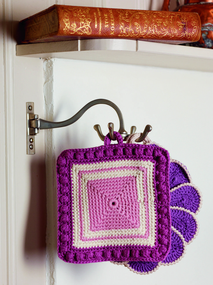 Square Potholder with Bobbles from Crochet for the Kitchen by Tove Fevang. Over 50 Patterns for Placemats, Potholders, Hand Towels, and Dishcloths Using Crochet and Tunisian Crochet Techniques.