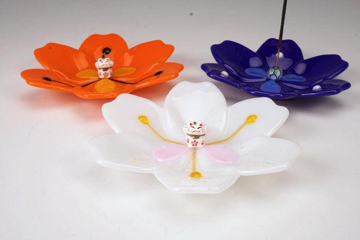 Excited to share the latest addition to my #etsy shop: Cobalt blue blossom incense holders, art glass incense holder, incense burner, yoga incense holder, meditation incense holder, happy cat http://etsy.me/2B0dLpV #everythingelse #religious #blue #incenseburner #incen