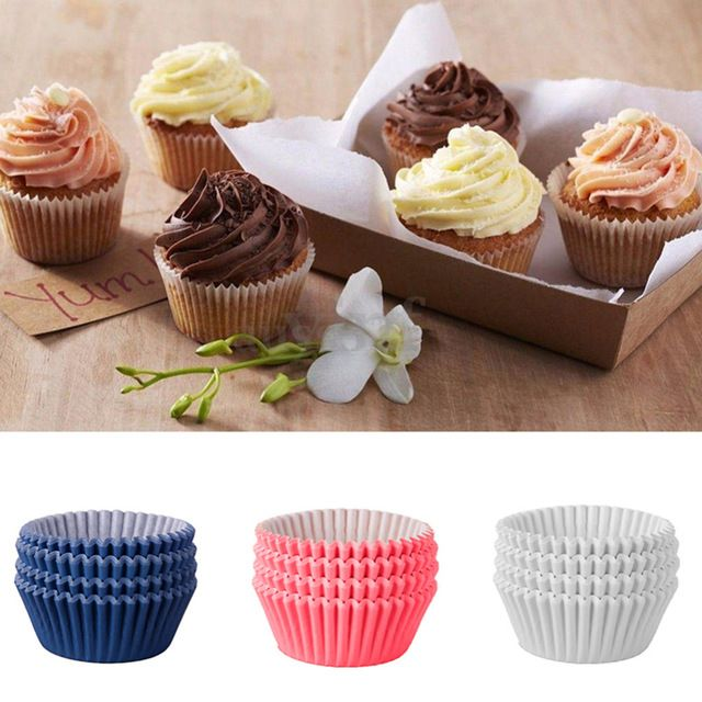 Hot Sale 100pcs Pure Color Cupcake Liners Muffin Cases Cup Cake