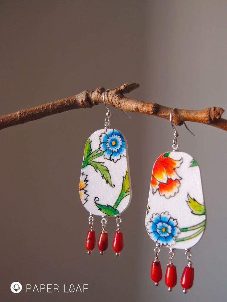Paper Leaf | Porcelain Poppy | handpainted paper earrings with red coral…