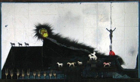 władysław hasior, czarne wodospady, 1970, asamblaż