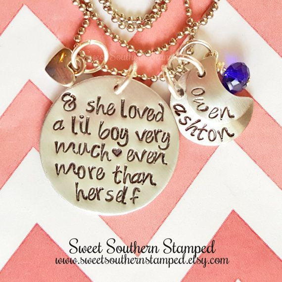 :{: She Loved a Lil Boy Very Much- Even More Than Herself Mothers Necklace :}:  This listing is for 1 (one) She Loved a Lil Boy Very Much-