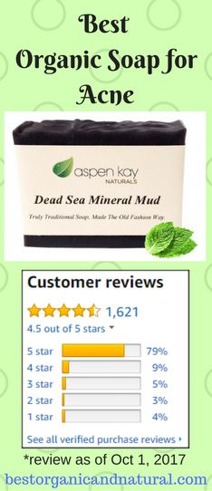 Organic soap for acne & blemishes w/ best reviews.Lightly scented with a blend of lemongrass, peppermint and eucalyptus essential oils, this soap fights acne and tighten pores amazingly.