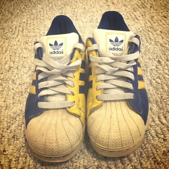 Adidas superstars Blue and yellow - great for games - well worn but just need to be cleaned Adidas Shoes Athletic Shoes