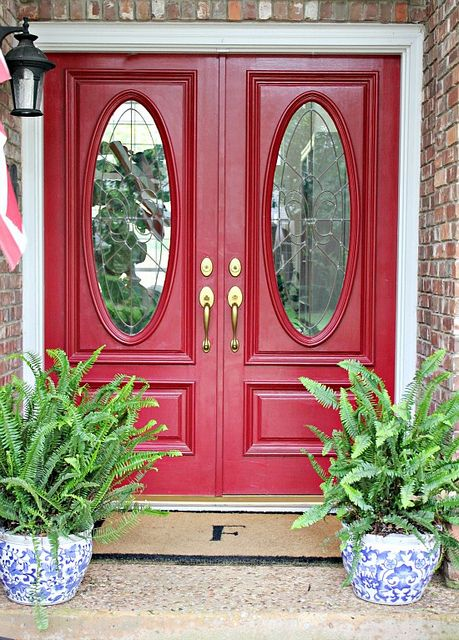 Love The Red Front Double Doors Home Depot Exterior