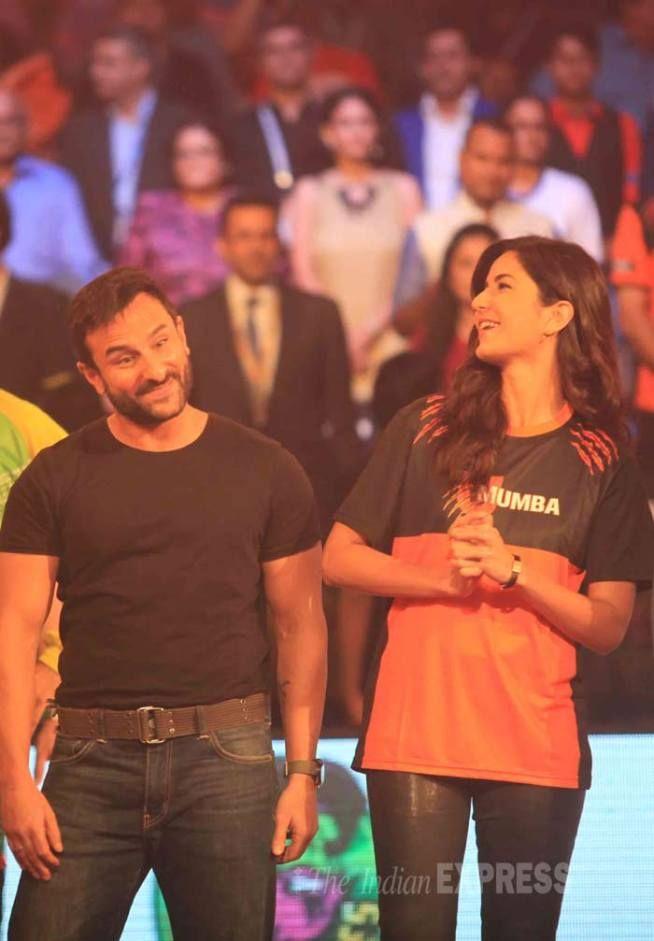 Katrina Kaif with her co-star Saif Ali Khan to promote #Phantom at the #ProKabaddi league finals in Mumbai. #Bollywood #Fashion #Style #Beauty #Handsome