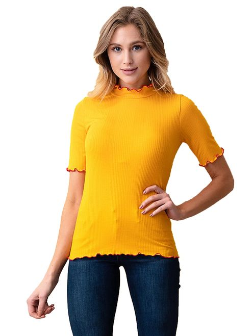 46abc50a29e04f Ribbed Top w Wavy Contrast Trim - Gold - S to XL in 2019 | Tops ...