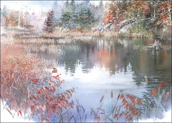 A painting by another of my favorite artists, Nita Engle. I love her use of splatter, scratching, and salt in wet paint to create detail and texture. She is also a master in the use of masking fluid.