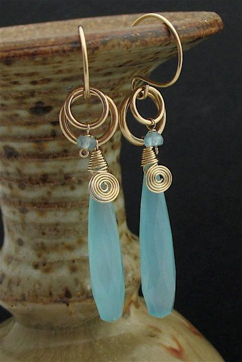 Blue Stone Wire Wrapped Earrings, Long Dangle Earrings, Blue Stone Jewelry, Wire Wrapped Jewelry, Chalcedony Earrings,