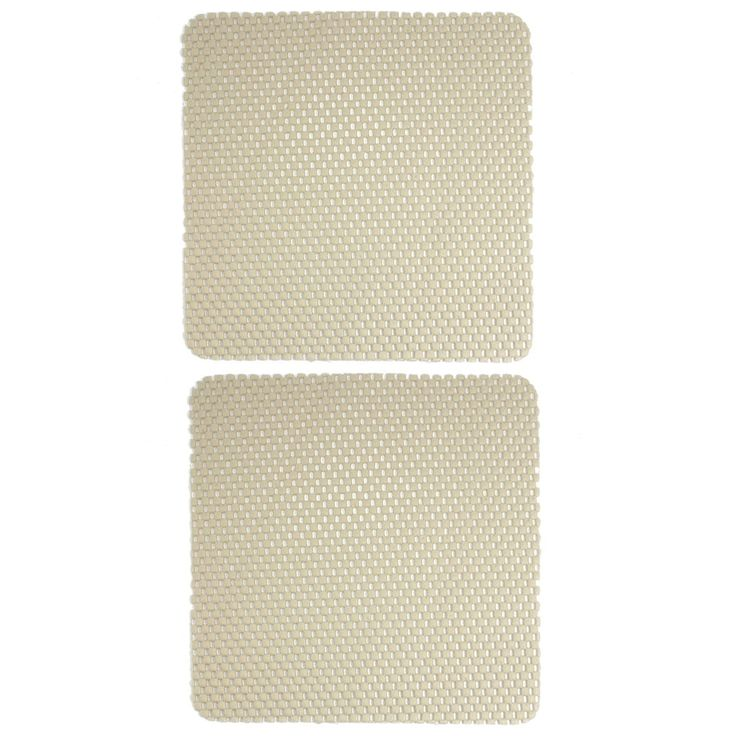 Unique Bargains 2 Pcs Beige Woven Pattern Car Anti-slip Nonslip Mat Pad Cushion