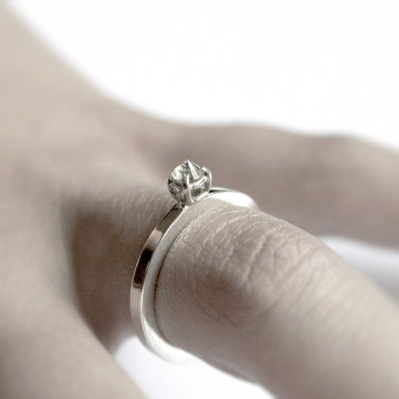 White thorn . white sapphire sterling silver ring