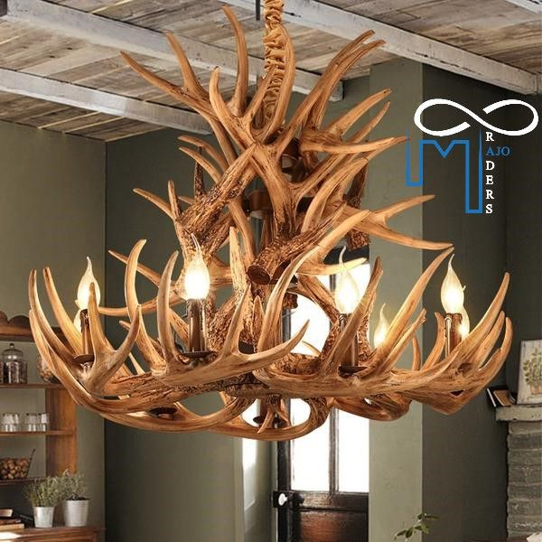 This Classic Resin Deer Antler Chandelier Is Completely Unique And And Rustic In It S Appearance Antler Chandelier Antler Lights Novelty Lighting