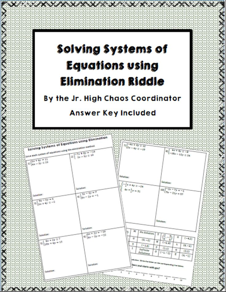 Systems of Equations Elimination Riddle Worksheet