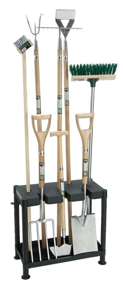 This Garden Tool Tidy is ideal for the shed or garage, it holds many common garden tools at once and is suitable for use with spades, forks, rakes, brooms etc. Its compact size ensures that tools can be easily removed even in the shed.   eBay!