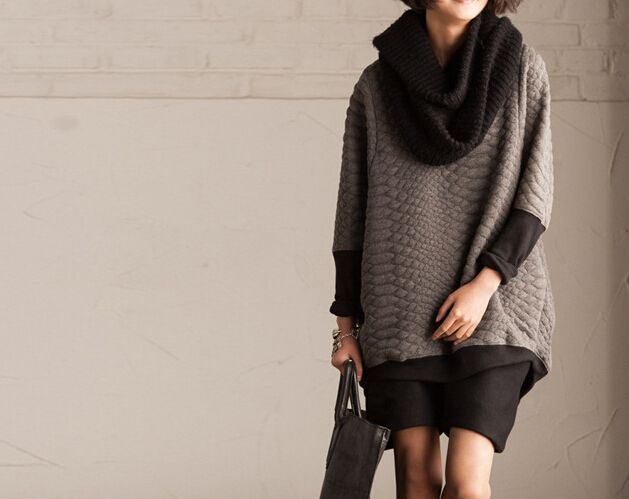 Gray Patchwork Loose Fit Sweater 383 from MissJuan by DaWanda.com