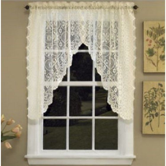 Hopewell Lace Cream kitchen curtain Swag