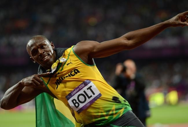 Usain Bolt Average speed  From his record time of 9.58 s for the 100 m sprint Usain Bolt's average ground speed equates to: 37.58 km/h or 23.35 mph. However, once his reaction time of 0.15 s is subtracted, his time is closer to 9.43 s, making his average speed closer to 38.18 km/h or 23.72 mph.