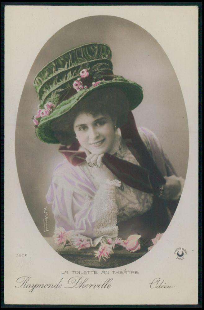 Raymonde Dherville Odeon Edwardian Theatre Fashion dress 1910s photo postcard