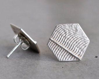 Hexagon sterling silver stud earrings. love.