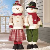 Standing Snowman Couple with Extendable Legs; $17.99