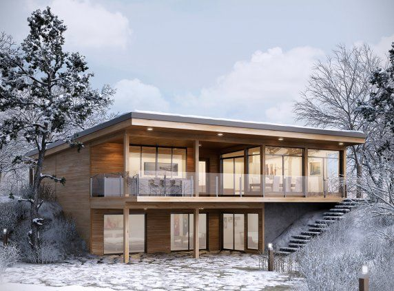 Pre-engineered home - PreviousNext Zoom NATUR-O: Inspired by a lifestyle-oriented concept, this breathtakingly beautiful contemporary home integrates seamlessly into the natural environment, with its wall high windows and oversized covered deck.