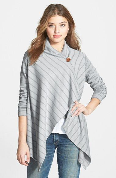 Bobeau One-Button Fleece Wrap Cardigan (Regular & Petite) available at #Nordstrom