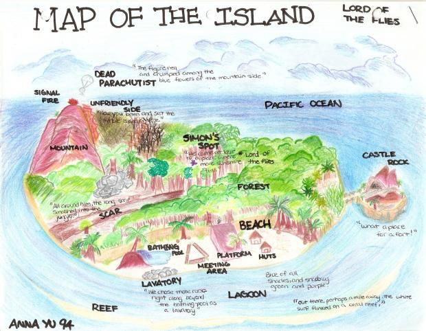 Image Result For A 3d Map Of Lord Of The Flies Island Lord Of The Flies Teaching British Literature Lord