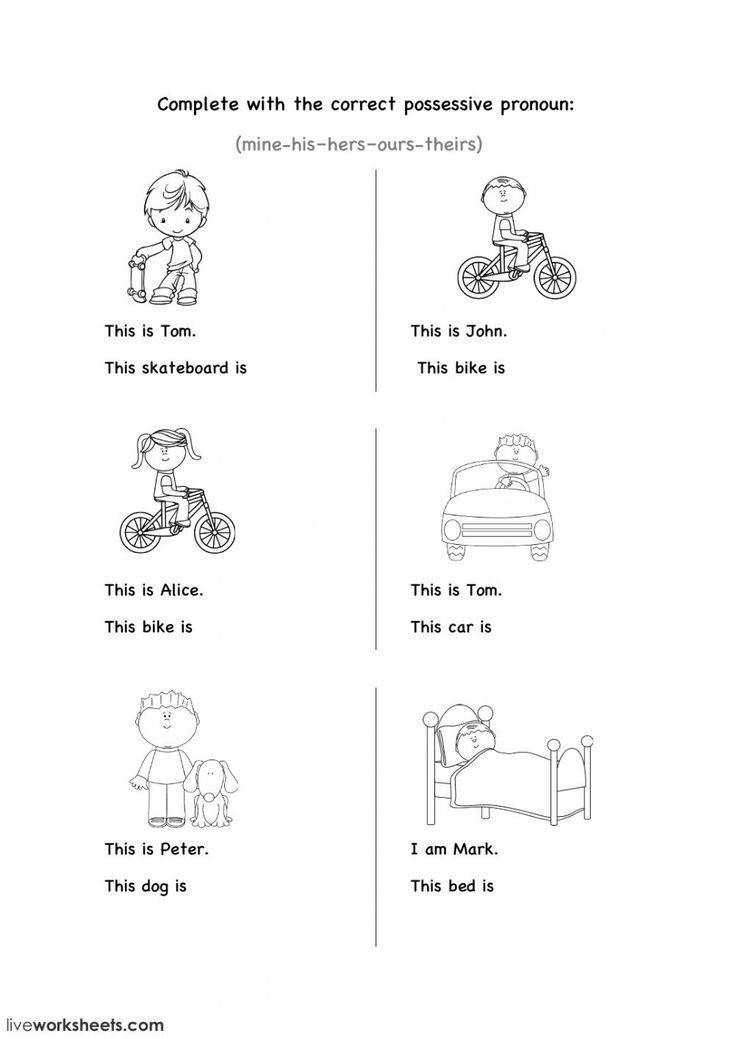 Possessive Pronouns Esol Worksheet You Can Do The