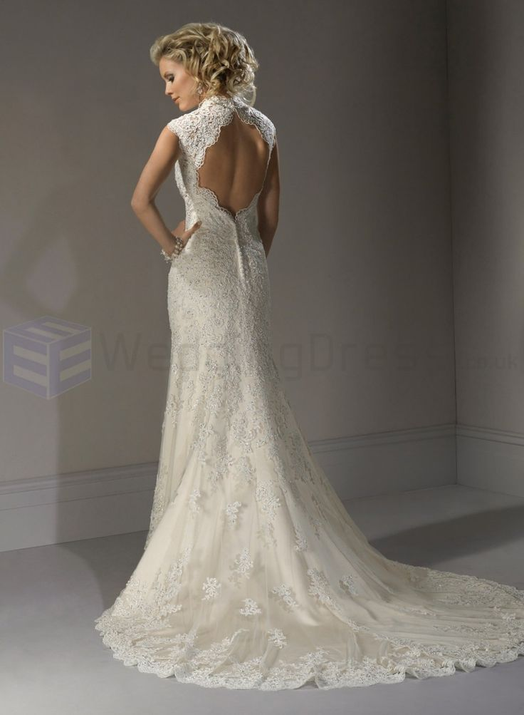 White A Line Lace Wedding Dresses