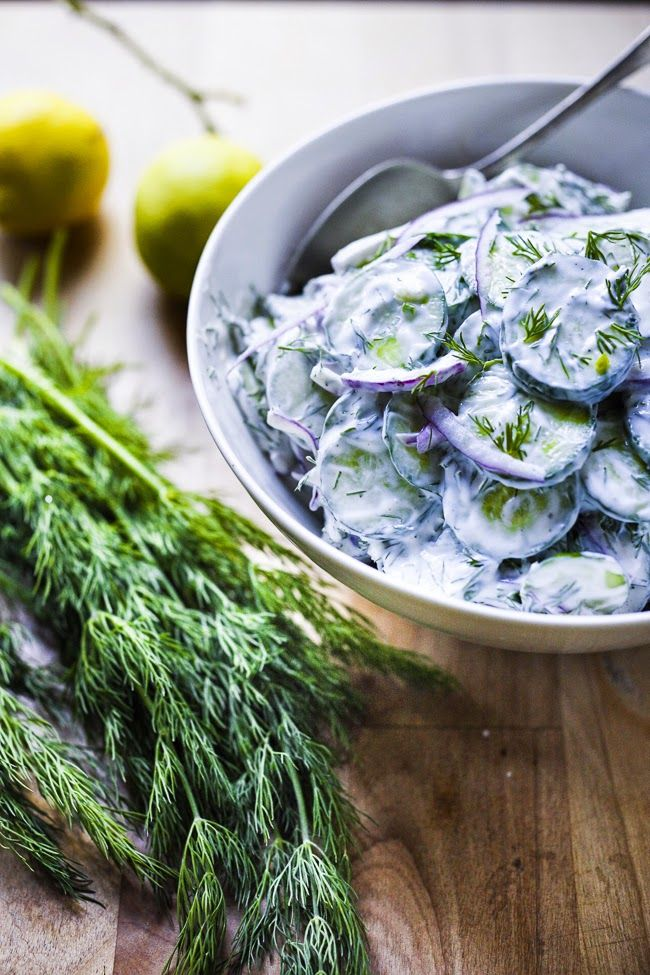 Turkish Cucumber Salad with creamy yogurt dressing and fresh mint and dill via Feasting at Home