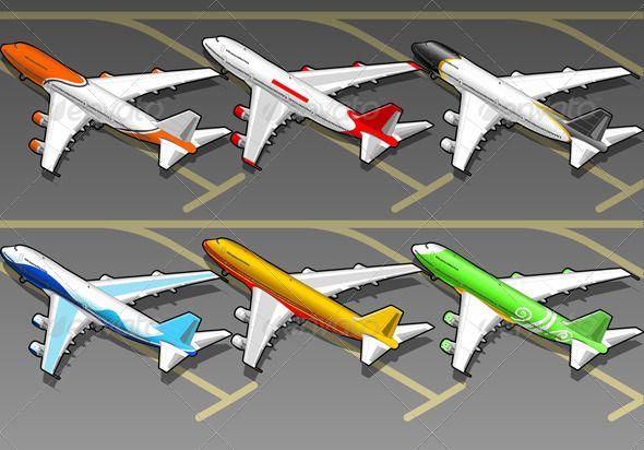 Isometric Airplanes in Six Livery in Rear View