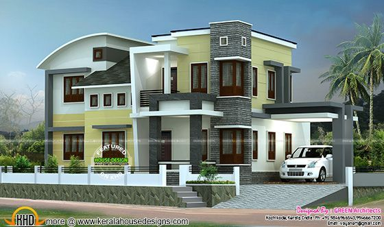 1800 Sq Ft Double Storied Home Plan Kerala House Design Duplex House Design House Front Design